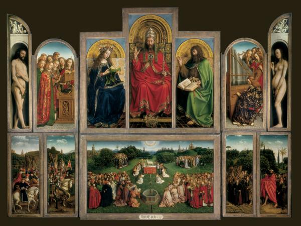 Van Eyck, Lam Godsretabel, Mystic Lamb, Agneau Mystique, Der Genter Altar (Lammanbetung), Políptico de Gante (El Políptico de la Adoración del Cordero Místico)